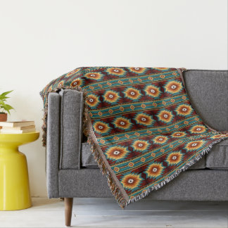 Southwestern navajo tribal pattern throw blanket
