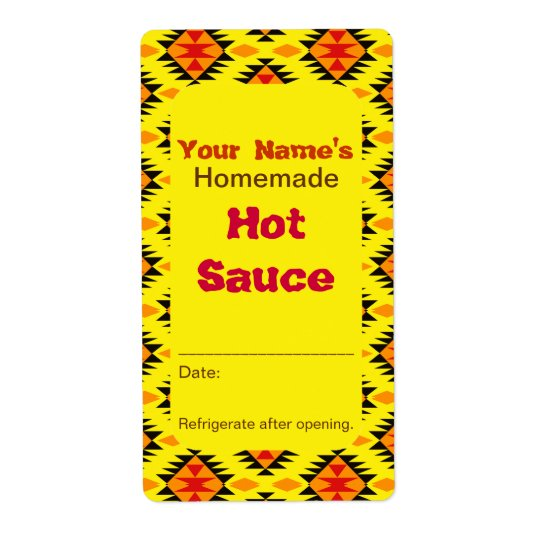 Southwestern Pattern Personalised Hot Sauce Labels