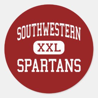 Southwestern - Spartans - High - Shelbyville Round Stickers