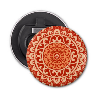 Southwestern Sun Mandala Batik, Coral Orange Bottle Opener