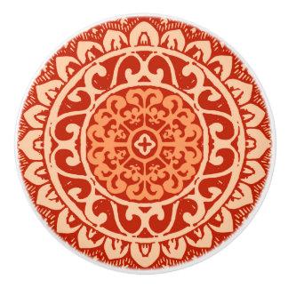 Southwestern Sun Mandala Batik, Coral Orange Ceramic Knob