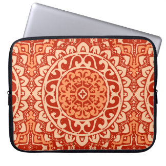 Southwestern Sun Mandala Batik, Coral Orange Laptop Sleeve
