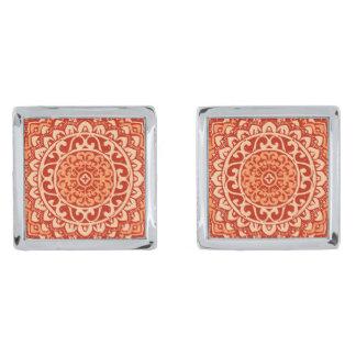 Southwestern Sun Mandala Batik, Coral Orange Silver Finish Cufflinks