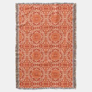 Southwestern Sun Mandala Batik, Coral Orange Throw Blanket