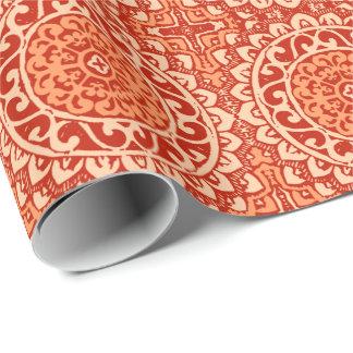 Southwestern Sun Mandala Batik, Coral Orange Wrapping Paper