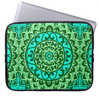 Southwestern Sun Mandala Batik, Lime Green Laptop Sleeve