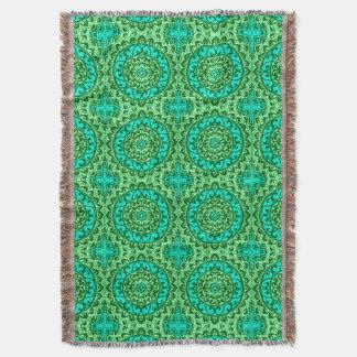 Southwestern Sun Mandala Batik, Lime Green Throw Blanket