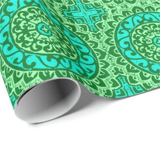 Southwestern Sun Mandala Batik, Lime Green Wrapping Paper