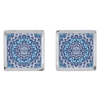 Southwestern Sun Mandala Batik, Navy Blue & White Silver Finish Cuff Links