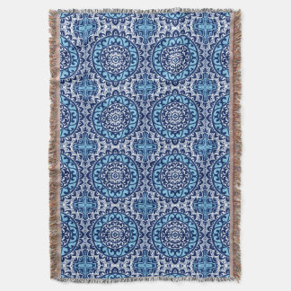 Southwestern Sun Mandala Batik, Navy Blue & White Throw Blanket