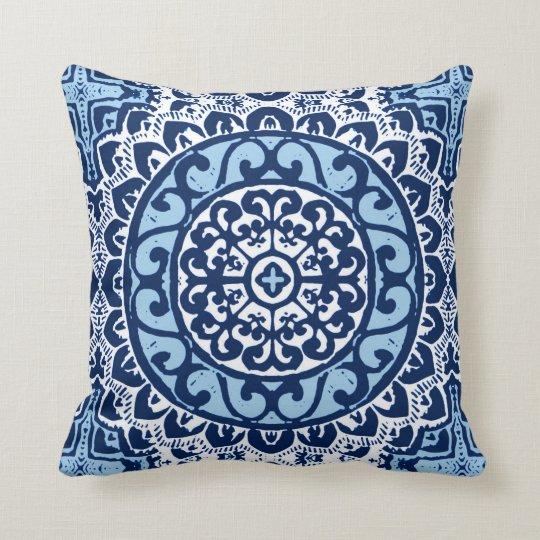 Southwestern Sun Mandala Batik, Navy Blue & White