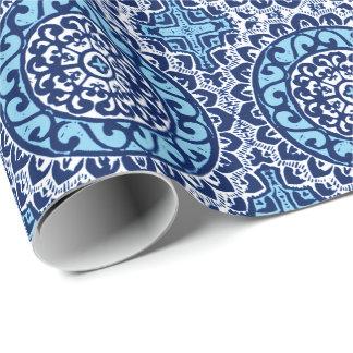Southwestern Sun Mandala Batik, Navy Blue & White Wrapping Paper