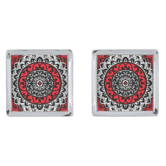 Southwestern Sun Mandala Batik, Red, Black & White Silver Finish Cufflinks