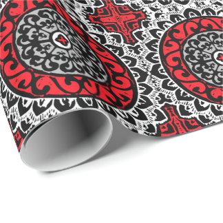 Southwestern Sun Mandala Batik, Red, Black & White Wrapping Paper