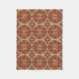Southwestern Sun Mandala Batik, Rust & Brown Fleece Blanket