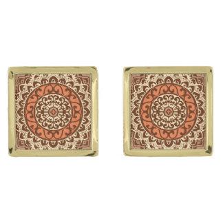 Southwestern Sun Mandala Batik, Rust & Brown Gold Finish Cufflinks