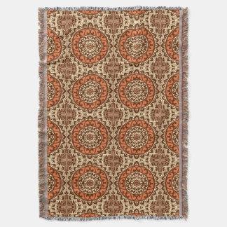 Southwestern Sun Mandala Batik, Rust & Brown Throw Blanket