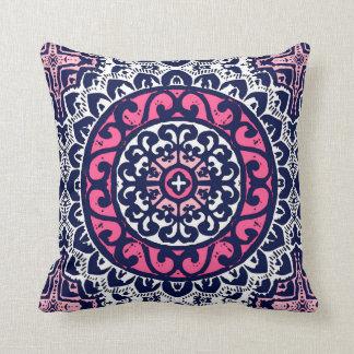 Southwestern Sun Mandala, Fuchsia, Navy & White Throw Pillow