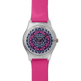 Southwestern Sun Mandala, Fuchsia, Navy & White Wrist Watches