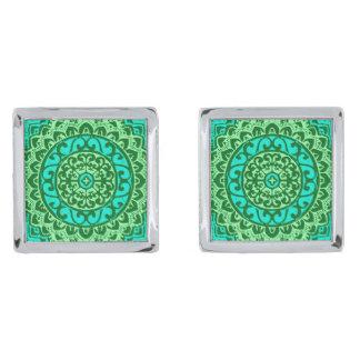 Southwestern Sun Mandala , Green and Turquoise Silver Finish Cuff Links