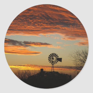 Southwestern sunset round stickers