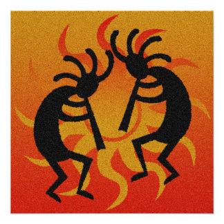 Southwestern Tribal Desert Sun Kokopelli Poster