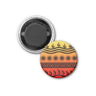 Southwestern Tribal Desert Sunset Cactus Kokopelli 3 Cm Round Magnet