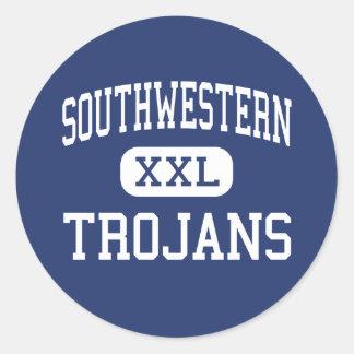 Southwestern Trojans Middle Jamestown Round Stickers