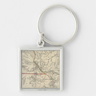 Southwestern United States Silver-Colored Square Key Ring