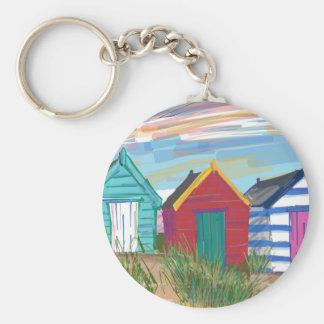 Southwold Beach Huts Basic Round Button Key Ring