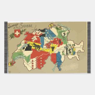 Souvenir De La Suisse, Vintage Rectangular Sticker