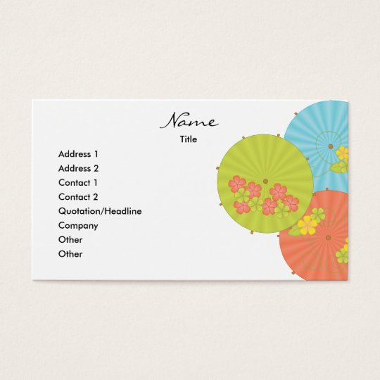 Souvenir Drink Umbrellas Business Card