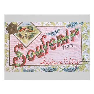Souvenir From Sioux City Lover, Vintage 21.5 Cm X 28 Cm Flyer