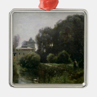 Souvenir of the Villa Borghese, 1855 Silver-Colored Square Decoration