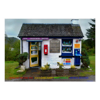 souvenir shop post office petrol station poster