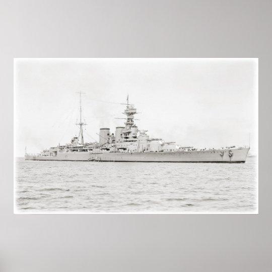 Sovereign-Class Battleship Hood 1924 Poster