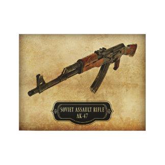 Soviet Assault Rifle AK-47 Gun Print Wood Poster