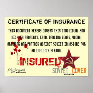 Soviet Cover Certificate Of Insurance Poster