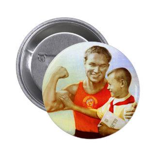 Soviet Exercise Propaganda 6 Cm Round Badge
