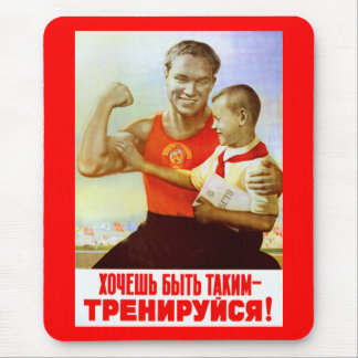 Soviet Exercise Propaganda Mouse Pad