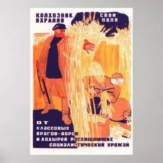 Soviet Kolkhoz propaganda poster 1933
