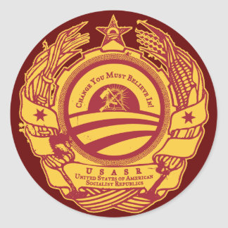 Soviet Obama Party Seal Round Sticker