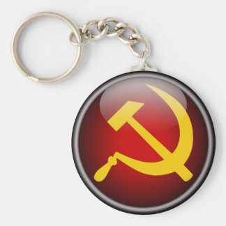 Soviet Russian Hammer and Sickle Basic Round Button Key Ring