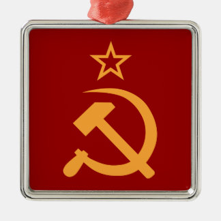 Soviet Silver-Colored Square Decoration