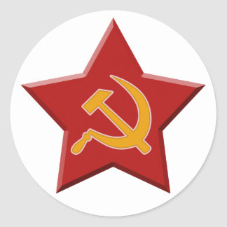 Soviet Star Hammer Sickle Red Communist Round Sticker