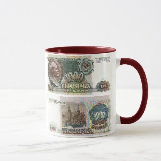 Soviet Union Banknote 1000 Ruble Mug