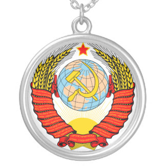 Soviet Union Emblem with CCCP Silver Plated Necklace