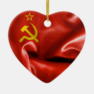 Soviet Union Flag Heart Ceramic Christmas Ornament