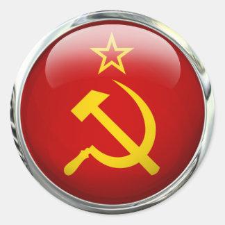 Soviet Union Round Flag Glass Ball Classic Round Sticker