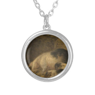 Sow and Piglets in a Sty by George Morland Round Pendant Necklace